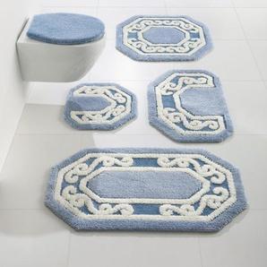 Badezimmer-Garnitur, blau, Gr. 50/90 cm,  home, Material: Polyester