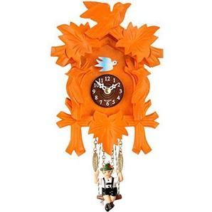 Bavariashop Design Kuckucksuhr, Kräftige Farben, Manuelle Nachtabschaltung, Material Holz, Höhe 17 cm, Farbe Orange