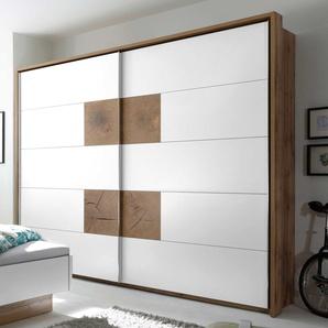2-trg. Schwebetürenschrank in weiß mit Absetzungen in Wildeiche-Nb. und Hirnholz-Nb. mit 2 Böden und 2 Kleiderstangen, Maße: B/H/T ca. 270/225/60 cm
