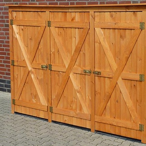 PROMADINO Mülltonnenbox , für 3x240 l aus Holz, B/T/H: 250/101/161 cm