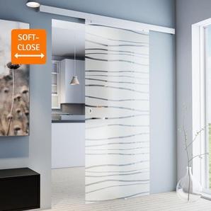 Tür Schiebetür Glas Mistral 900 x 2035 Zimmertür Glasschiebetür Glastür - Griffmuschel+Softclose - inova Star
