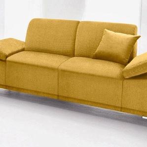Domo Collection 2er Sofa, gelb, B/H/T: 190x46x57cm, komfortabler Federkern, hoher Sitzkomfort, FSC®-zertifiziert