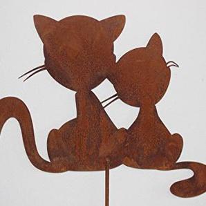 Katzenpaar Romantika auf Stab, aus Metall Edelrost H ca. 1,2 m