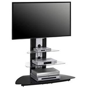MAJA-Möbel 1628 9442 TV-Rack, Metall Alu - Schwarzglas, Abmessungen BxHxT: 110 x 127,5 x 52,5 cm