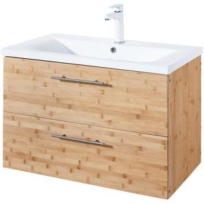 KONIFERA Waschtisch »Bambus New«, Waschplatz, 80 cm breit, Bad-Set, 2-tlg.