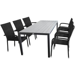 7tlg Gartengarnitur Gartentisch 205x90cm, Tischplatte Polywood silbergrau, Alurahmen schwarz + 6x Stapelstuhl, Polyrattanbespannung schwarz, stapelbar - WOHAGA®