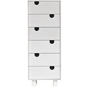 Karup 441105105006 House 6-Drawer Kommode, Holz, weiß, 50 x 40 x 130 cm
