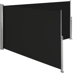 Alu Doppel Seitenmarkise schwarz 200 x 600 cm