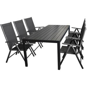 7tlg. Gartengarnitur Gartentisch, Polywood, 205x90cm, Schwarz + 6x Hochlehner Miami Grau, Textilenbespannung Schwarz - WOHAGA®