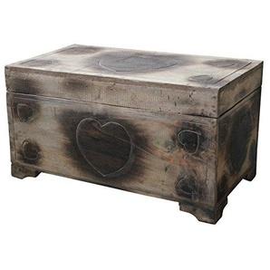 Wohnkult Holz Truhe Herz Motiv Schatztruhe 60 cm Kiste aus Palmenholz Antik Handarbeit Geschenk Hochzeit Liebe