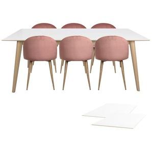 Essgruppe | Esstisch Ausziehbar Weiß 195/285 mit 6 Samt Stühlen Rosa - Nora