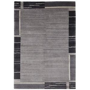 Handgefertigter Teppich in Dunkelgrau