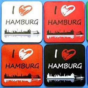 Buddel-Bini Versand Hamburg Untersetzer Set Skyline 6-teilig Souvenir