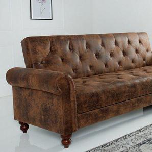 Chesterfield Sofa MAISON BELLE AFFAIRE 225cm antik braun mit Schlaffunktion