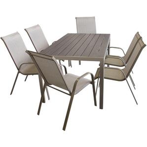 7tlg Sitzgruppe Gartentisch, Aluminiumrahmen, Polywood Tischplatte champagner, 150x90cm + 6x Stapelstuhl, Textilenbespannung champagner / Gartengarnitur Gartenmöbel Set Sitzgarnitur - MULTISTORE 2002