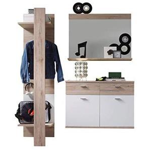 trendteam smart living Garderobe Garderobenkombination 3-teiliges Komplett Set Campus, 165 x 187 x 38 cm in Weiß, Absetzung Eiche San Remo Hell (Nb.)