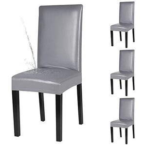 YISUN 4er/6er Set Esszimmer Stuhlhussen, solide Pu Leder Wasserdichte Stretch Esszimmerstuhl Schutzhülle- 4 Stück