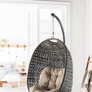 DESTINY Hängesessel »Cocoon«, Polyrattan, beige, inkl. Sitz- und Rückenkissen