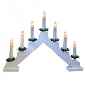 DKB Holz Kerzenbrücke mit 7 Lichter Lichterbogen Schwibbogen weihnachtliche Lichterdeko Indoor Dekoration