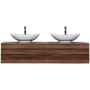 Badmöbel Classico XL walnuss seidenglanz mit Aufsatzwaschbecken