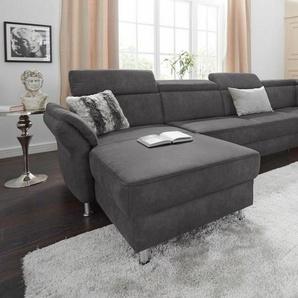 sit&more Wohnlandschaft, wahlweise mit Bettfunktion und Stauraum, grau, Luxus-Microfaser