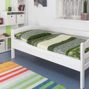 Einzelbett Easy Premium Line K1/n/s, Buche Vollholz massiv weiß lackiert - Maße: 90 x 190 cm