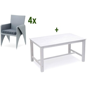 BELARDO / GARVIDA Caniola / Sinala Sitzgruppe, Alu / GARDAN®TEC-Geflecht / FSC® Akazienholz, 150 x 90 cm, 4 Sessel