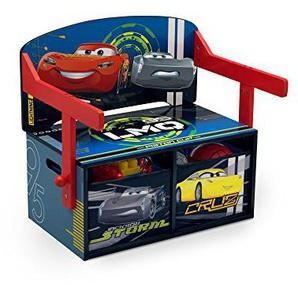 familie24 Disney Cars 3 in 1 Schreibtisch + Sitzbank + Spielzeugkiste umklappbar Kindermöbel Kindersitzgruppe Tisch Stuhl