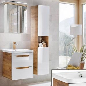 Badmöbel Set mit 60cm Keramik-Waschtisch LUTON-56 in Hochglanz weiß mit Wotaneiche BxHxT ca. 110x195x43cm