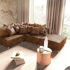 Ecksofa Clovis Braun Antik Optik Modular Hocker Ottomane Rechts, Design Ecksofas, Couch Loft, Modulsofa, modular