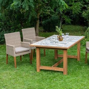 MERXX Gartenmöbelset »Ranzano«, 9-tlg., 4 Sessel, Tisch 172x105 cm, inkl. Sitzkissen