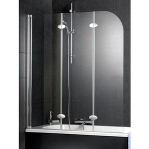 Schulte Badewannenaufsatz Komfort 3-tlg. Echtglas Alu-Natur 140 cm x 125 cm