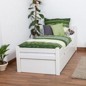 Einzelbett / Funktionsbett Easy Premium Line K1/h Voll inkl. 2. Liegeplatz und 2 Abdeckblenden, 90 x 200 cm Buche Vollholz massiv weiß lackiert