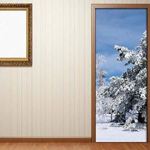 Türaufkleber Winter Wald Baum Schnee weiß Tanne HImmel Tür Bild Türposter Türfolie Türtapete Poster Aufkleber 15A1039, Türgrösse:67cmx200cm
