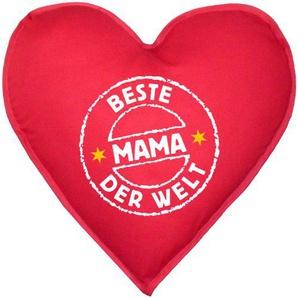 Schönes Kissen in Herzform! Stempel: Beste Mama der Welt Liebes Geschenk! ca. 40x40cm