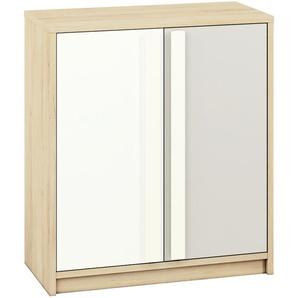 Jugendzimmer - Kommode Greeley 09, Farbe: Buche / Weiß / Hellgrau - Abmessungen: 93 x 83 x 40 cm (H x B x T), mit 2 Türen und 2 Fächern