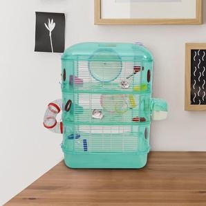 PawHut® Hamsterkäfig Nagerkäfig Mäusekäfig Hamsterburg Rohrsystem mit Zubehör Metall Grün 40,5 x 28 x 55 cm