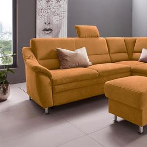 Places Of Style Ecksofa »Cardoso«, gelb, Ottomane rechts, B/H/T: 250x47x57cm, hoher Sitzkomfort