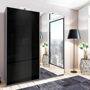 Schwebetürenschrank in Aluminium-Optik, Front in Hochglanz Lack schwarz, Spiegel, 2 Einlegeböden und 2 Kleiderstangen, Maße: B/H/T ca. 179/198/64 cm