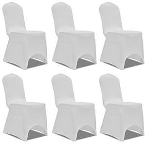Anself 6er Set Stuhlhusse Stuhlbezug für viele Stuhlgrößen Weiß
