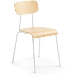 Stuhl Set aus Schichtholz Weiß Stahl (4er Set)