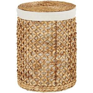 Wäschekorb mit Deckel ¦ beige ¦ Leinen, Wasserhyazinthe ¦ Maße (cm): B: 37 H: 50 T: 37 Aufbewahrung  Wäscheaufbewahrung » Höffner