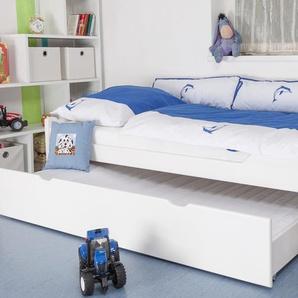 Kinderbett / Jugendbett Easy Premium Line K1/1h inkl. 2. Liegeplatz und 2 Abdeckblenden, 90 x 200 cm Buche Vollholz massiv weiß lackiert