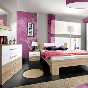 JUSTyou VICKA II 140 Schlafzimmerset Schlafzimmerkombination Schlafzimmer Komplett Eiche Weiß