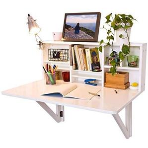 SoBuy Wandklapptisch mit integriertem Regal, B90 x H36 x T60cm, Wandschrank, Küchentisch, Esstisch, FWT07 (weiß)