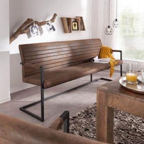 Sitzbank Earnest 200 cm Braun Vintage mit Armlehne, Bänke
