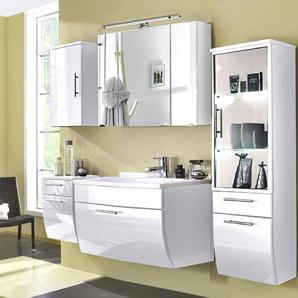 Badmöbel Set TALONA-02 Hochglanz weiß, 90cm Waschtisch weiß, Halogen Spiegelschrank (5-teilig)