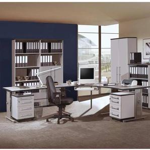 Büromöbel Set PRIFO-01 lichtgrau, 9-teilig, 2 Rollcontainer