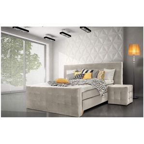 ELESS Cannes Boxspringbett Continentalbett Amerikanisches Bett Doppelbett Ehebett Gästebett Beige 140x200 cm H3-H3