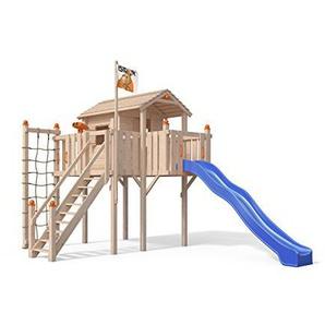 OSKAR Terrizio XL-Spielturm Baumhaus mit Rutsche und Sicherheitstreppe, Kletternetz und Spielhaus auf 1,50 Meter Podesthöhe (Blau)